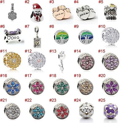 European Silver Pearl Charms Flower Beads CZ Pendant Fit 925 Sterling Bracelets