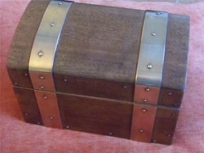 Lovely Antique Vintage Solid Wood Brass Bound Dome Topped Chest Casket Box