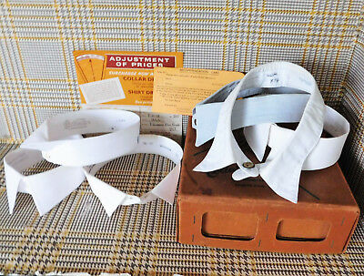 6 vintage shirt collars and studs in laundry box Size 15.5 Starched semi-stiff