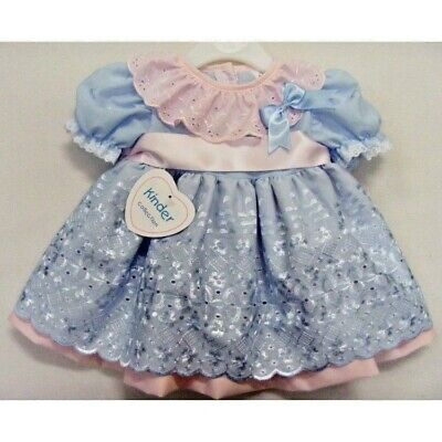 Kinder Baby Girls Romany Spanish Style Blue & Pink Broderie Anglaise Bow Dress