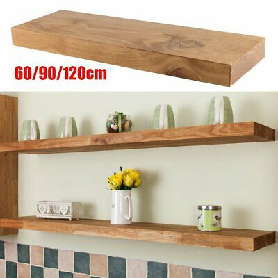 Rustic Floating Wooden Shelf - Solid Reclaimed Chunky Wood - Industrial Shelves