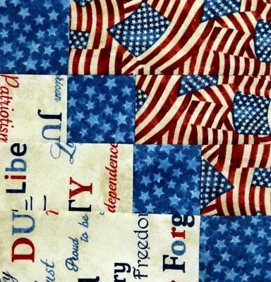 {16} Pre-Sewn Already Pieced Stairway to Heaven Quilt Blocks ~ Americana