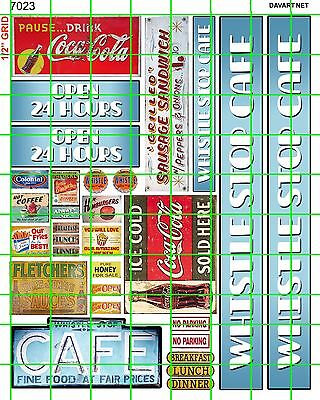 7023 DAVE'S DECALS WHISTLE STOP CAFE WITH ASSORTED SIGNS O or HO SCALE ORIGINAL