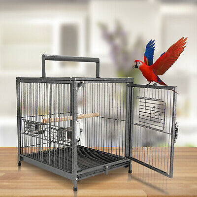 Parrot Travel Carrier Bird Macaw Cage Aviary House Portable