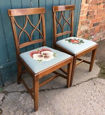 Pair of Regency Georgian Style Mahogany Dining Hall Chairs Floral Woolwork Seats