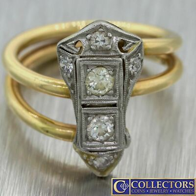 1920s Antique Art Deco Estate 14k Solid Gold .30ctw Diamond Cocktail Ring C8