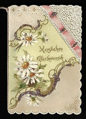 Antique Victorian German Birthday Card Booklet - Embossed, Paper Lace, Glitter