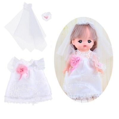 Lovely Wedding Dress Outfit for Mellchan Baby Doll for 9-11inch Reborn Doll