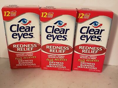 Clear Eyes Redness Relief Eye Drops Lot of 3 New