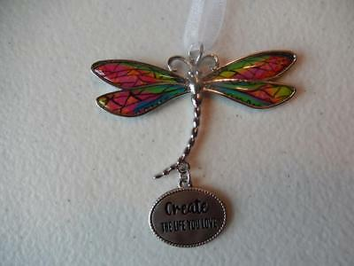 "GANZ Dragonfly ""Create the Life you Love"" Car Ornament Great Gift!"