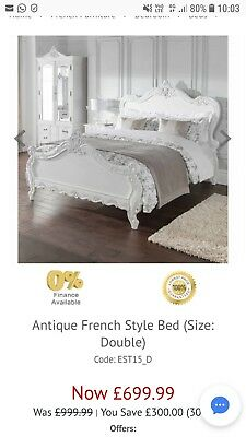 French style antique double bed white *brand new*