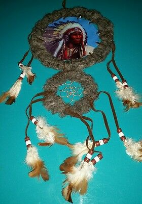 Dream catcher Indian chief with headdress 16""