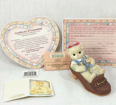 Calico Kittens Follow In Your Footsteps Shoes Series Figurine Teacher Cat Enesco