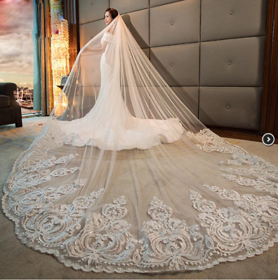 White Ivory 1T 4M 5M Wedding Bridal Long Veil Church Cathedral Length With Comb