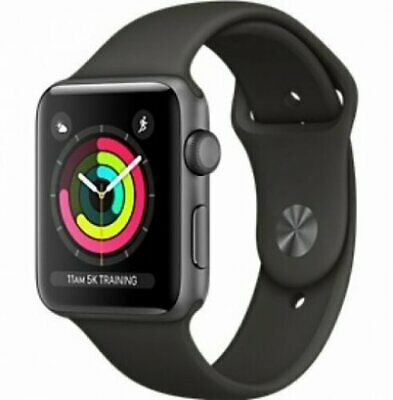 New Apple Watch Series 3 38mm Aluminum Case Sport Space Gray with Black GPS
