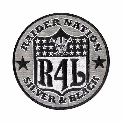 """Large Oakland """"RAIDERS 4 LIFE"""" Patch (5"""") Oakland Raider - NFL Silver and Black"""