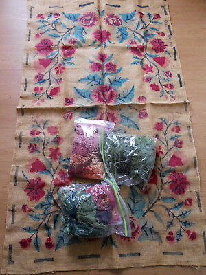 Vintage Floral RUG HOOKING PATTERN with Wool 32 x 56