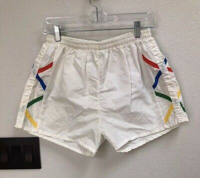 (E30) Vintage Campus Sport Athletic White Shorts Large 80s 90s