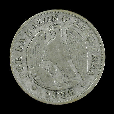 1880 Chile Silver 20 Cents - Scarce