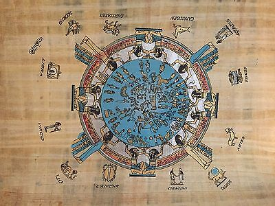 authenticate Huge Ancient Egyptian Zodiac Signs Handmade Painting on Papyrus 1
