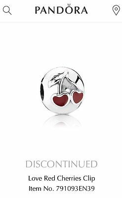 NEW Authentic PANDORA Love Red Cherries Clip Charm Sterling Silver 791093EN39