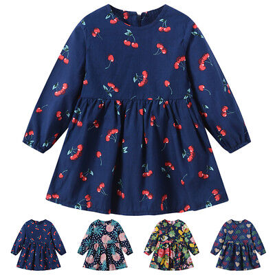 Toddler Kid Baby Girl Floral Long Sleeve Tutu Skirts Dress Cotton Outfits Set