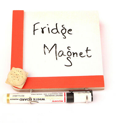 Handmade Crafted Wooden Fridge Magnets with a Whiteboard and Hooks - Burger