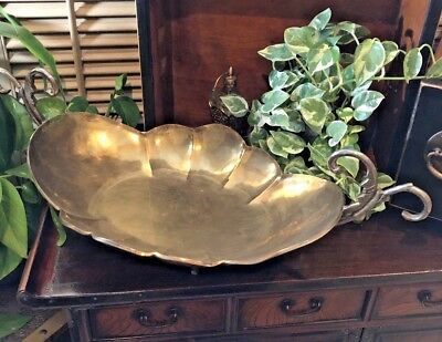 Vintage Handmade Brass Tray footed LARGE scalloped with handles FREE shipping