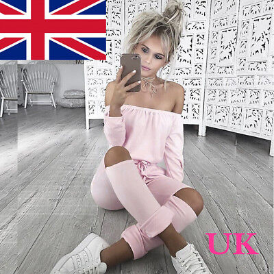 UK Ladies Evening Party Playsuit Womens One Shoulder Ripped Jumpsuit Size 6-16