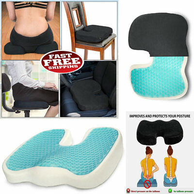 Memory Foam Seat Cushion Cooling Gel Lumbar Back Pillow Support Coccyx Seat  TG