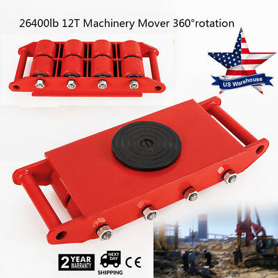 US Heavy Duty Machine Dolly Skate Machinery Roller Mover Cargo Trolley 12 Ton