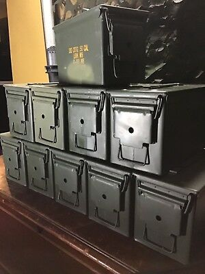 US Military M2A1 Steel 50 Cal Ammo Can LOT OF 8 Airtight 12x6.5x7.5 FREE SHIP