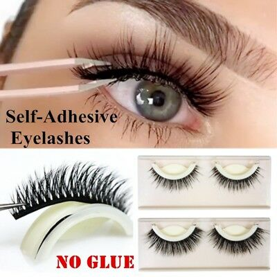 Self Adhesive 3D False Eyelashes Extension Reusable Natural Curly Eye Lashes