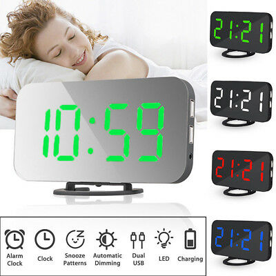 LED Digital Table Wall Clock Large 3D Display Alarm Clock Brightness Dimmer USB