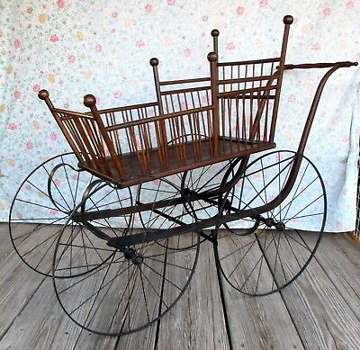 Antique Victorian Baby Buggy Stroller Carriage Pram Wood Metal Wheels Stick Ball