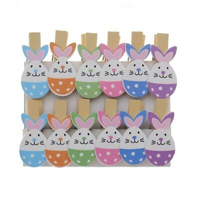 12x/Set Rabbit Wood Clips Photo Paper Pegs Easter Craft Party Decor Supply Prop