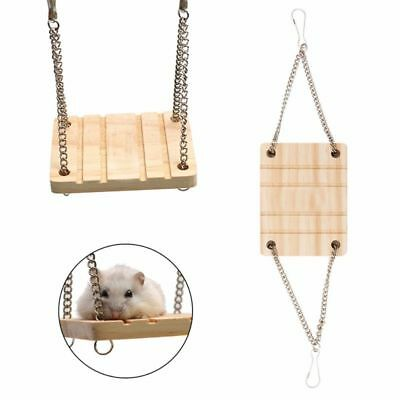 Ladder Wooden Toy Hamster Swing Rectangle Shape with Chain Bell Suspension