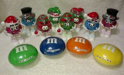 M&M's (8) Mini Candy Figures & (4) Round Containers Lot Of 12
