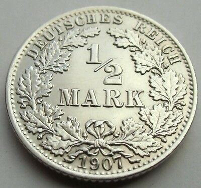 (14)Rare Germany Empire 1/2 Mark Silver Coin 1907 A -  0.900 Silver