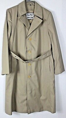 PIONEER WEAR Men's 38 Tan Khaki Trench Coat Western Removable Liner Belted EUC