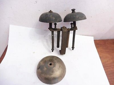 Found Antique Clock Movement  Parts   Mystery Clock Twin Bell Unit And Single