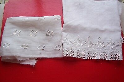 Vtg Cotton Embroidered Eyelet Trimming Lace/Fabric  Antique Doll White  Lot of 2