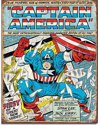 Captain America comic cover Marvel Retro Vintage Weathered Style Metal Tin Sign