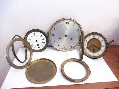 Found 3 Mixed Antique Brass , Metal And Enamel & Clock Faces/parts #france 39197
