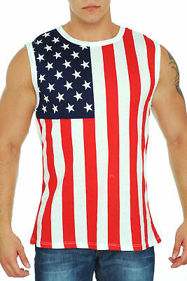 MEN/'S USA FLAG SLEEVLESS SHIRT OLD GLORY PRIDE STARS AND STRIPES TANK TOP TEE