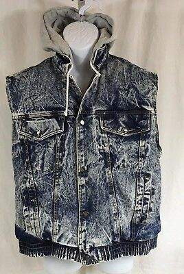 TRUE VINTAGE LE TIGRE' Grunge Punk ACID WASH Denim Hoodie Vest Size Medium 38-40