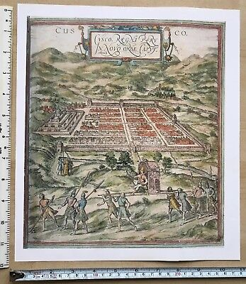"Old Antique vintage historical map 1500s: Cuzco, Peru 11.5 X 10"" Reprint 1572c"