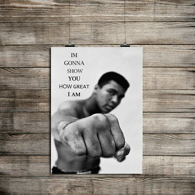 Inspirational Muhammad Ali Punch Quote Gym Workout Fitness Print A4 Satin Paper