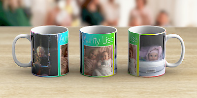 Personalised 3 Photo Mug Text Birthday Mum Dad Coffee Tea Cup Any Name Message