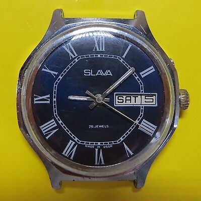 SLAVA 26 jewels mechanical vintage Soviet Russian USSR Watch